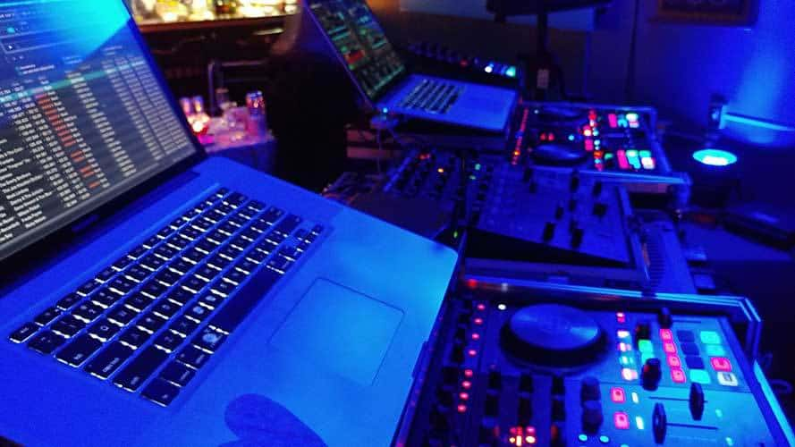 Close-up of DJ equipment and lighting