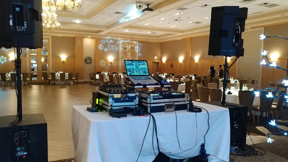 Our DJ setup in a conference hall