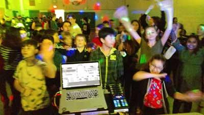 School Students Cheer Our Dance DJ